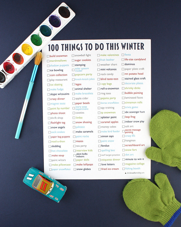 Free printable winter activity list for kids