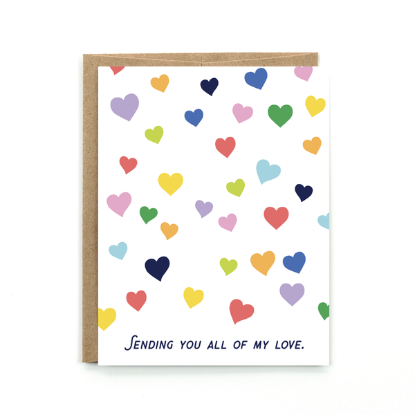 "This cheery card is sent with lots of love. It has multi colored hearts that are scattered across the front. It says ""Sending you all my love."" It is blank inside and comes with a brown kraft envelope. Be sure to stock up on this card because it can be used for so many occasions."