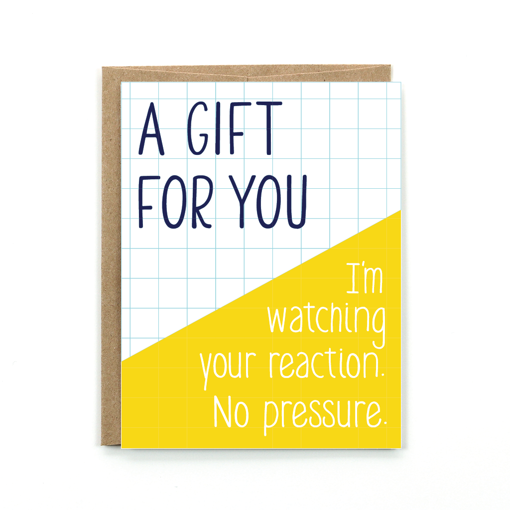 This minimal yellow and black card is the perfect card to accompany all you gifts. And it is pretty funny too! It will bring a smile to your face, and their's too.
