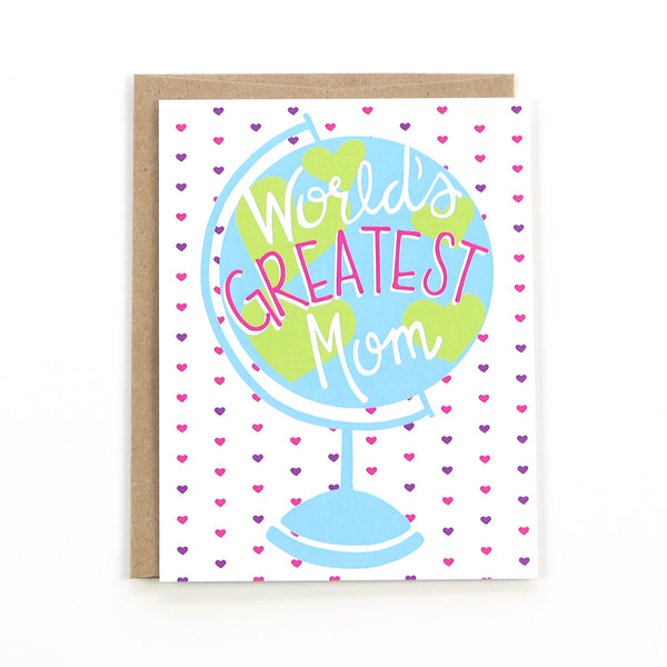 "Celebrate your Mom with our ""World's Greatest Mom"" card. This card is perfect for celebrating your mom on Mother's Day or any other day for that matter."
