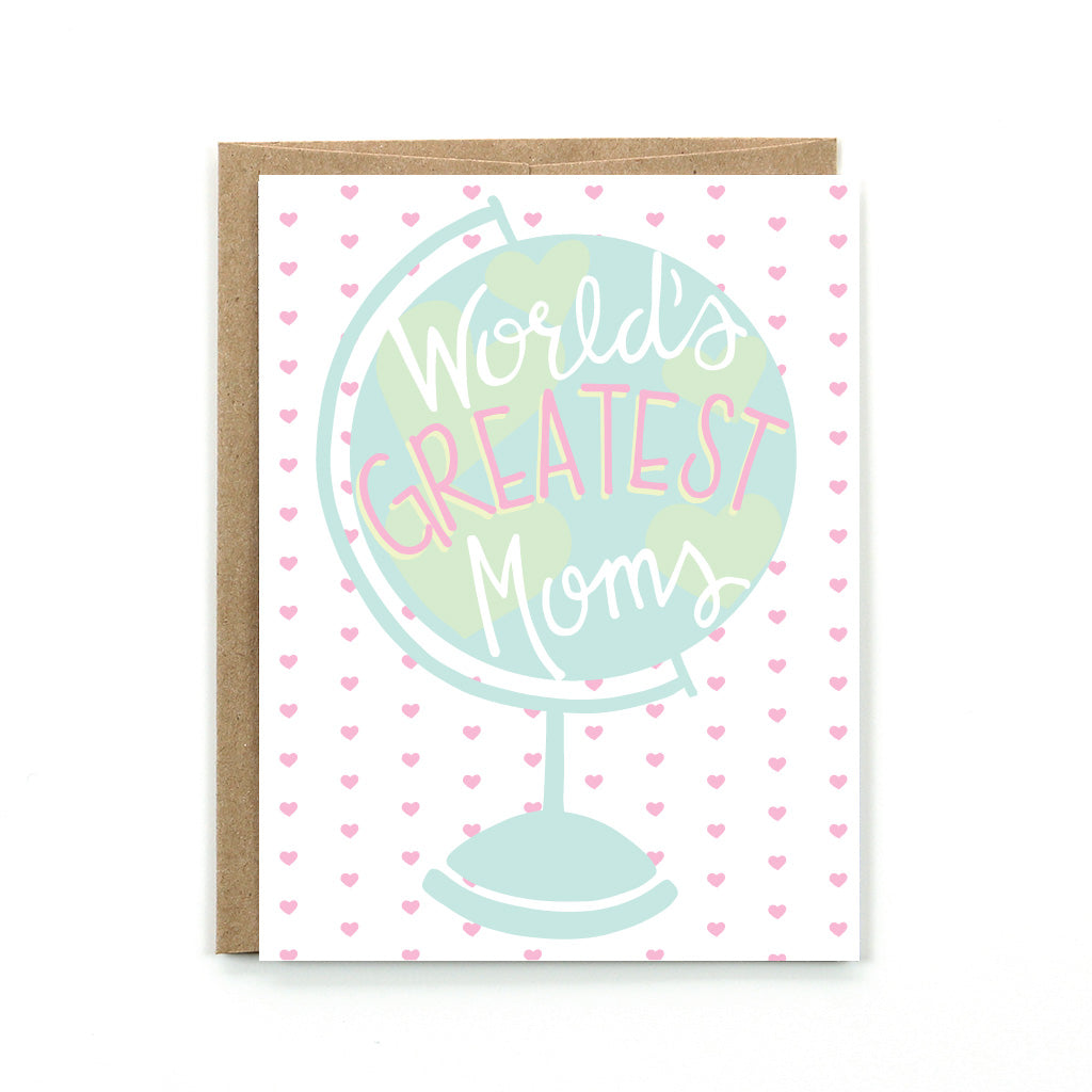 "Celebrate Mother's Day with our ""World's Greatest Moms"" card. It is perfect for people lucky enough to have two moms."