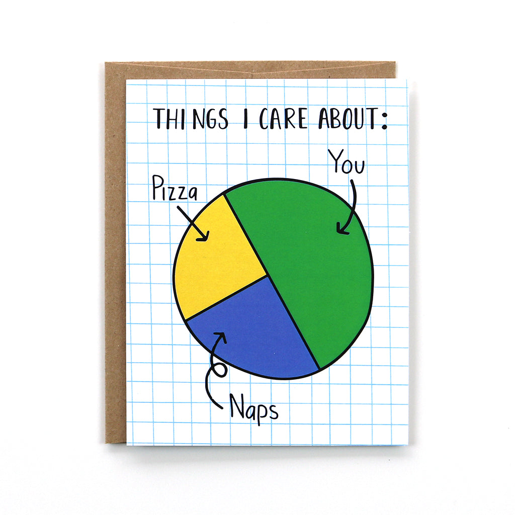 Show someone how much you care with our pie chart card. It is sure to put a smile on their face.