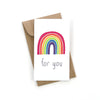 "Our multi color rainbow ""for you"" mini card is the perfect addition to any gift. It comes complete with a mini brown craft envelope."