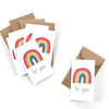 "Be sure to stock up on our mini ""for you"" rainbow cards. These make the perfect lunchbox notes and are sure to bring a smile to your loved ones face."