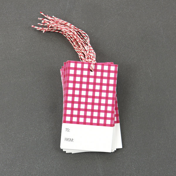 Raspberry Gingham Gift Tags