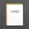 "Say ""thanks"" with our black and white card. This card is the perfect thing to keep on hand for all those moments you need to say ""thanks."""
