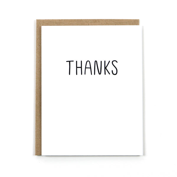 "Our simple black and white ""thanks"" card is the perfect all occasion thank you note."