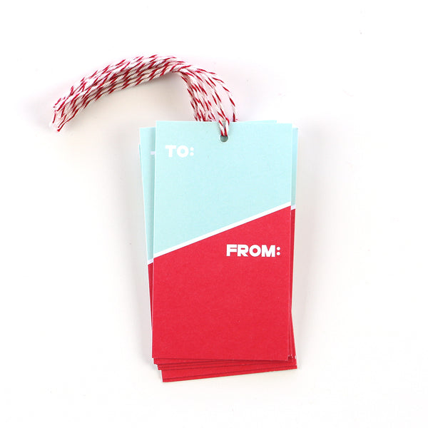 These two-tone gift tags are the perfect way to top off any gift. The red and teal design makes them useable for any occasion or holiday.