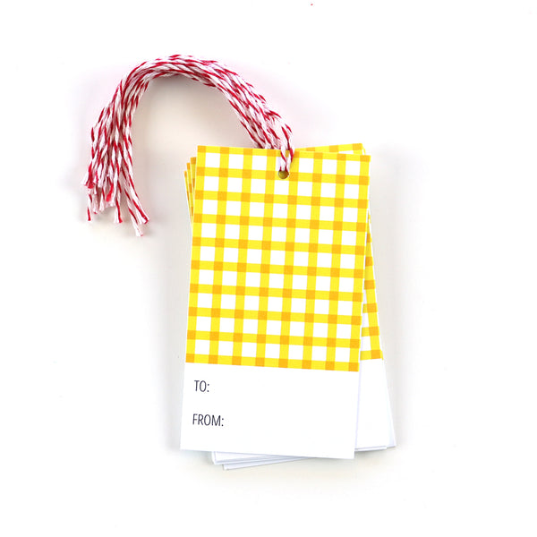 Yellow gingham gift tags will brighten up any gift.