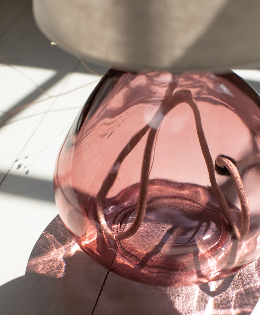 Small Pink Glass Recycled Table Lamp