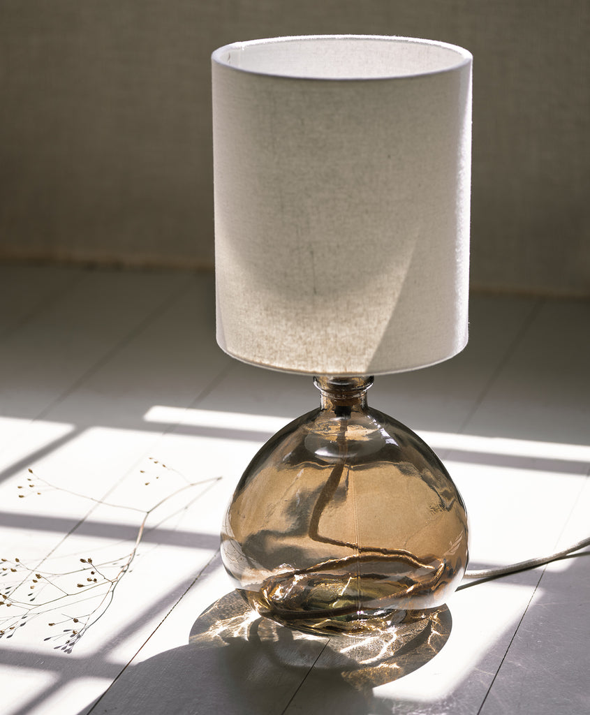 Small Smoked Glass Recycled Table Lamp