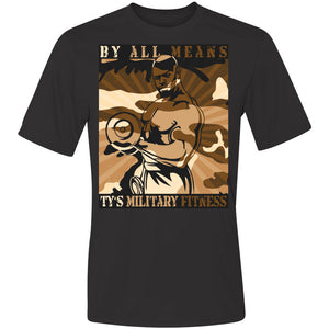 """By All Means"" Men's Cool-Dri Performance T-Shirt (Khaki Design)"