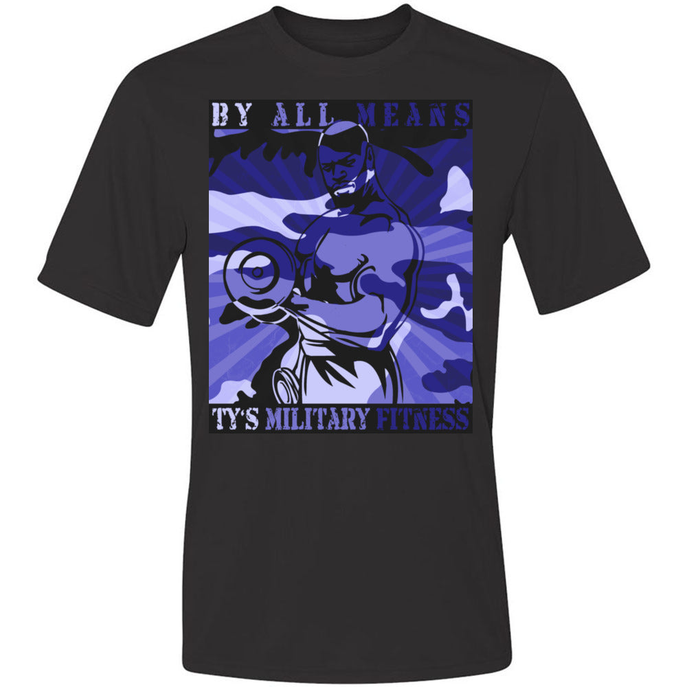 """By All Means"" Men's Cool-Dri Performance T-Shirt (Blue Design)"