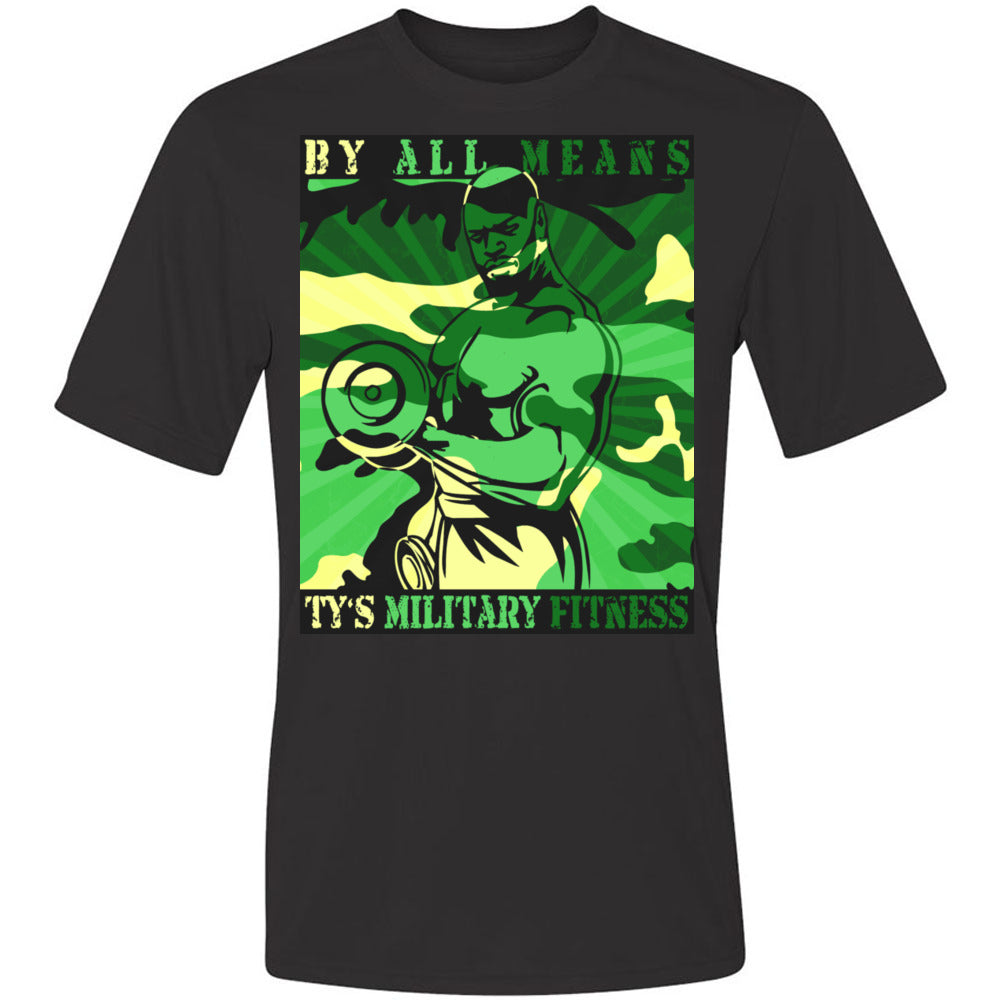 """By All Means"" Men's Cool-Dri Performance T-Shirt (Green Design)"