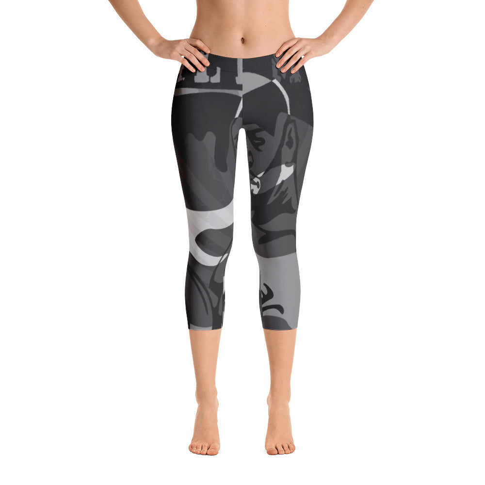 """By All Means"" Collection Capri Leggings (Grey Design)"