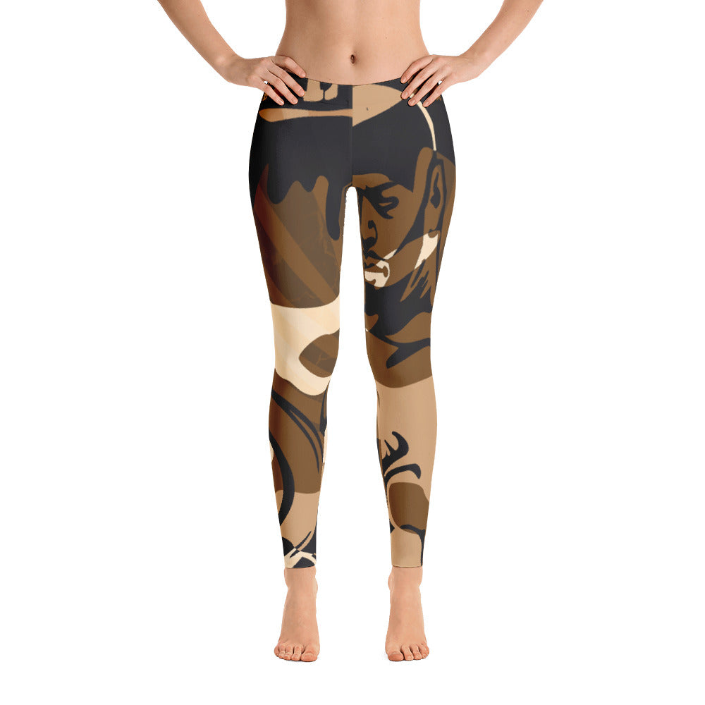 """By All Means"" Collection Cameo Leggings (Brown Design)"