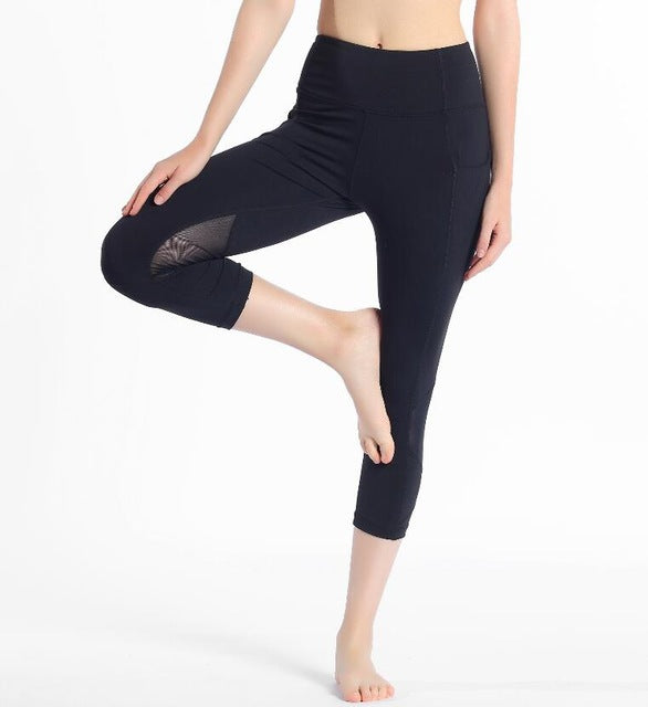 2020 woman capris 4 way stretch fabricl pant sexy gym mesh splice leggings