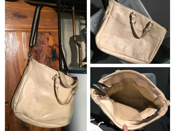 front, back and interior views of beige leather briefcase with long shoulder strap