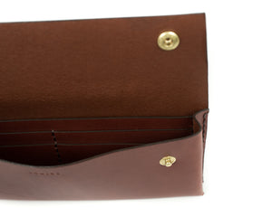 Interior Pocket of Large Wallet in Brown Leather with Snaps