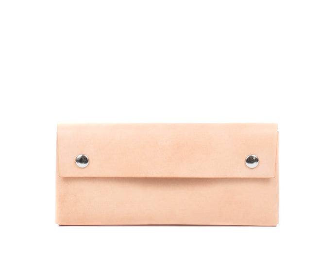 Large Wallet in Natural Vegtan leather with Snaps