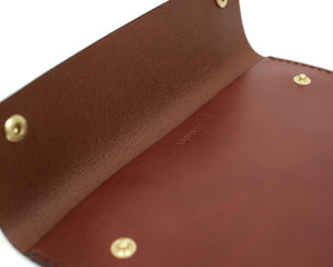 Interior Pocket of Clutch in Brown Leather with Snaps