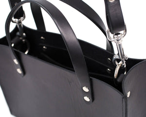 Small Black English Bridle Leather Tote with Top Handle and Adjustable Strap Detail