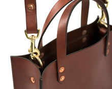 Small Mahogany English Bridle Leather Tote with Top Handle and Adjustable Strap Detail