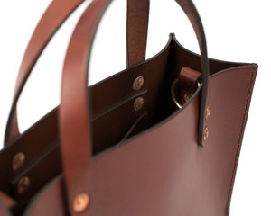 Small Mahogany English Bridle Leather Tote with Top Handle and Interior Pocket