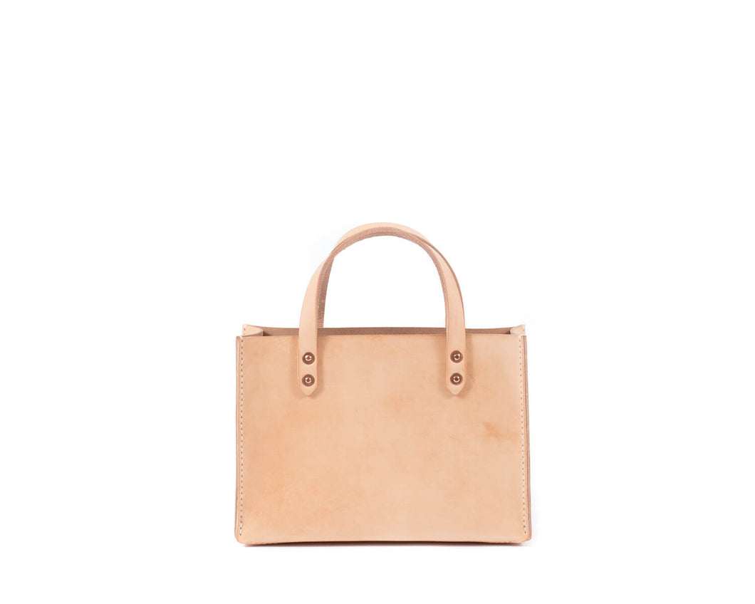 Small Natural Vegtan Leather Tote with Top Handle Front