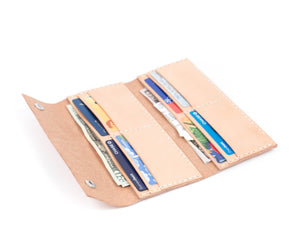 Cards in Interior View of Women's Large Trifold Wallet in Natural Vegtan Leather