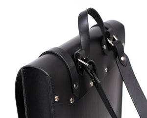 Slim Vertical Backpack in Black English Bridle Leather Hardware