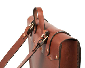 Slim Vertical Backpack in Mahogany English Bridle Leather Hardware