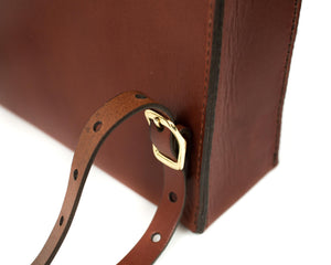 Slim Vertical Backpack in Mahogany English Bridle Leather Shoulder Strap Buckles