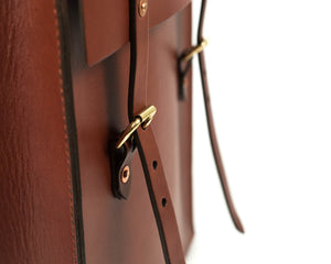 Slim Vertical Backpack in Mahogany English Bridle Leather Front Buckles