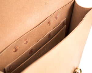 Slim Vertical Backpack in Natural Vegtan Leather Interior Pocket