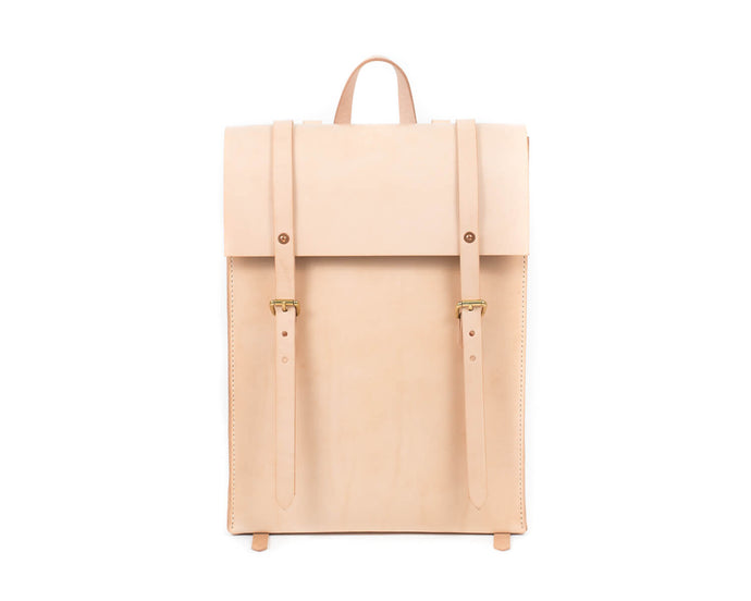 Slim Vertical Backpack in Natural Vegtan Leather Front