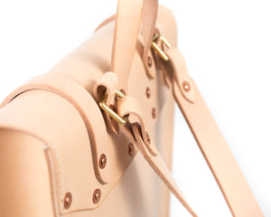 Slim Vertical Backpack in Natural Vegtan Leather Hardware