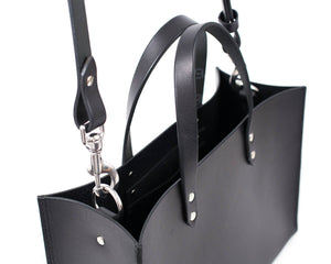 Black English Bridle Leather Tote with Top Handle and Adjustable Strap Detail