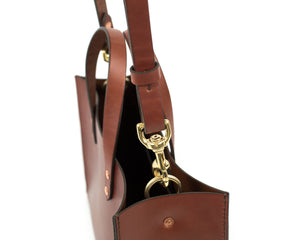 Brown English Bridle Leather Tote with Top Handle Adjustable Strap Detail