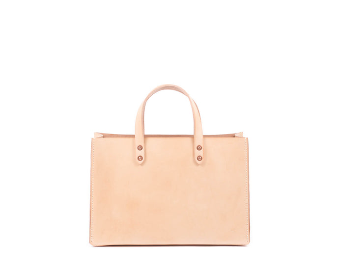 Natural Vegtan Leather Tote with Top Handle Front