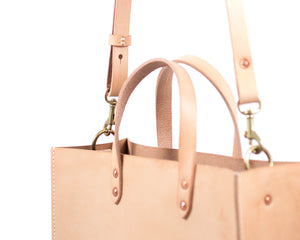 Natural Vegtan Leather Tote with Top Handle and Shoulder Strap Detail