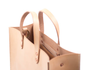 Natural Vegtan Leather Tote with Top Handle Interior Pocket