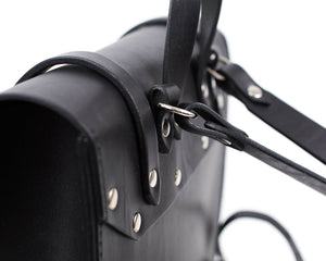 Small Black English Bridle Leather Montrose Backpack Back Detail