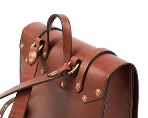 Small Mahogany English Bridle Leather Montrose Backpack Back Detail