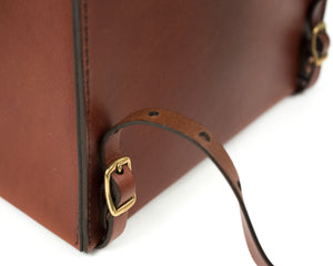 Small Mahogany English Bridle Leather Montrose Backpack Back Buckle Detail