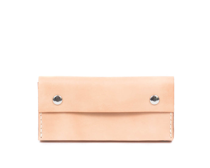 Pencil Case in Natural Vegtan Leather with Two Snaps