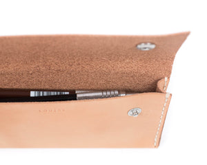 Interior Pocket of Pencil Case in Natural Vegtan Leather with Two Snaps