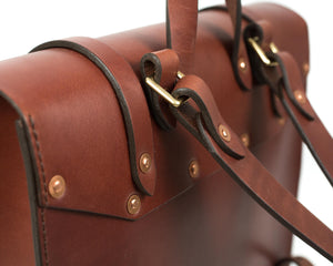 Large Square Porter Backpack Mahogany Veg Tan Leather Hardware Detail