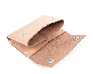 Natural Vegtan Leather Wallet with Snaps Interior Pockets