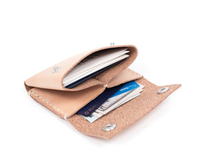 Natural Vegtan Leather Wallet with Snaps Interior Pockets with Cards